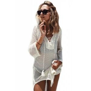 White Lace-up Neck Long Fishnet Beachwear Dress Black