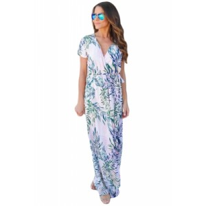 White Tropical Printed Wrap Maxi Dress