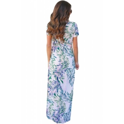 a56e9e7c266 White Tropical Printed Wrap Maxi Dress (White Tropical Printed Wrap ...