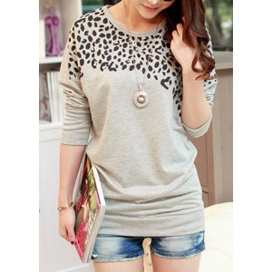 Women's Batwing Tops Long Sleeve Casual Blouse Leopard Print T-Shirt green gray