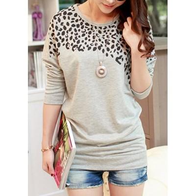 Women's Batwing Tops Long Sleeve Casual Blouse Leopard Print T-Shirt green gray