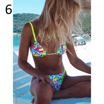 2020 New Ruffle Bikinis Women Swimsuit Cross Bandage Swimwear Push Up Bikini Set Beach Bathing Suit Brazilian Biquni Print