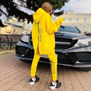 New Women's Loose Letters Sports Set Casual Zipper Long Sleeve Hooded Collar Sweater & Pants Two-piece Set