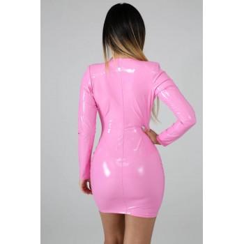 Women PU Leather Dresses Long Sleeve Zippers High Elasticity Sheath Clothing Deep V Neck Short Outdoor Wear