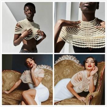 Women Round Neck Cloak Sleeve Pearl Shawl Top Women Elegant Shawl Top Women