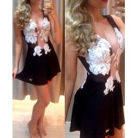 Alluring Plunging Neck Sleeveless Spliced See-Through Dress For Women black