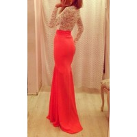 Alluring Round Neck Long Sleeve Spliced See-Through Dress For Women red white