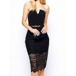 Alluring Strapless Sleeveless Spliced See-Through Dress For Women black