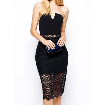Alluring Strapless Sleeveless Spliced See-Through Dress For Women black