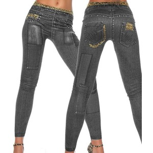 Casual Skinny Mid-Waisted Tattoo Graffiti Print Jean Leggings For Women black blue