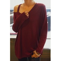 Casual Women's V-Neck Long Sleeve T-Shirt red black
