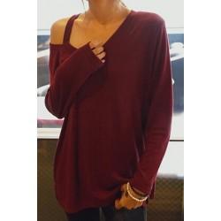 Casual Women's V-Neck Long Sleeve T-Shirt red black
