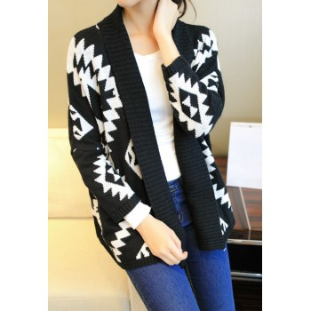 Color Block Long Sleeves Acrylic Retro Style Cardigan For Women black white