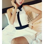 Color Block Sleeveless High Waist Women's Bodycon Peplum Dress white