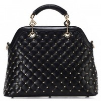 Elegant Women's Tote Bag With Checked and Rivets Design black white