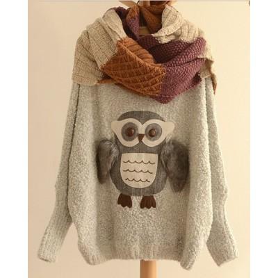 Fashionable Scoop Neck Night Owl Pattern Batwing Sleeve Women's Sweater gray black