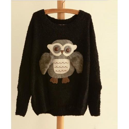 db33df3a0d6e Fashionable Scoop Neck Night Owl Pattern Batwing Sleeve Women s ...