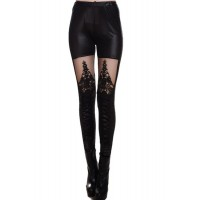 Fashionable Women's Stretchy Mesh Splicing Black Leggings black