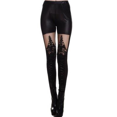 Fashionable Women's Stretchy Mesh Splicing Black Leggings black