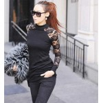Fitted Turtle Neck Lace Backless Long Sleeve Black T-Shirt For Women