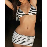 Hot Women's Halter Striped Three-Piece Swimsuit stripe