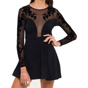 Jewel Neck Long Sleeves Solid Color Embroidered Stylish Dress For Women black