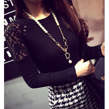 Jewel Neck Long Sleeves Solid Color Lace Splicing Stylish Sweater For Women GRAY RED BLACK