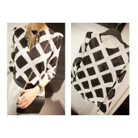 Ladylike Round Neck Checked Print Long Sleeve Chiffon Shirt For Women black white