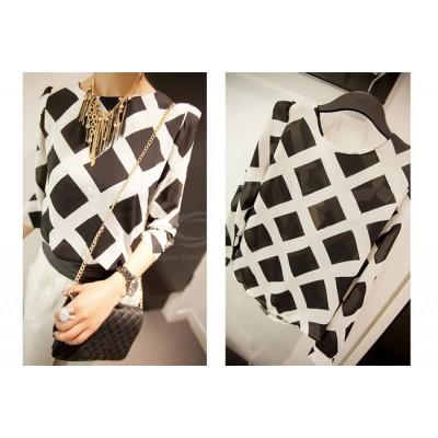 Ladylike Round Neck Checked Print Long Sleeve Chiffon Shirt For Women black white