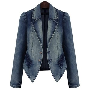 Lapel Collar Long Sleeves Buttons Stylish Denim Jacket For Women blue