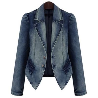 Lapel Collar Long Sleeves Buttons Stylish Denim Jacket For Women blue