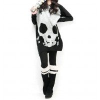 Loose-Fitting Skull And Star Print Color Block Slimming Cotton Blend Long T-Shirt For Women black jacinth
