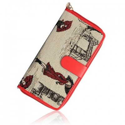 Retro Women's Wallet With Zipper and Drawing Design red blue