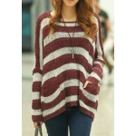 Scoop Neck Striped Long Sleeves Stylish Sweater For Women khaki