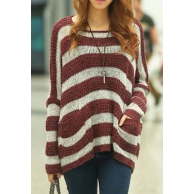 Scoop Neck Striped Long Sleeves Stylish Sweater For Women khaki