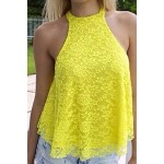 Sexy Halter Sleeveless Solid Color Hollow Out Lace Tank Top For Women yellow