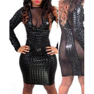 Sexy Jewel Neck Long Sleeve Spliced See-Through Dress For Women black