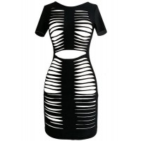Sexy Jewel Neck Short Sleeve Hollow Out Dress For Women black