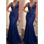 Sexy Lace Plunging Neck Sleeveless Backless Dress For Women blue