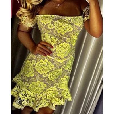 Sexy Lace Slash Collar Short Sleeve Flower Pattern Dress For Women yellow