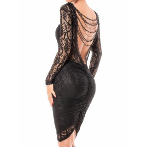 Sexy Long Sleeve Round Neck Backless Slimming See-Through Dress For Women black