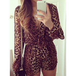 Sexy Plunging Neck Long Sleeve Leopard Print Jumpsuit For Women