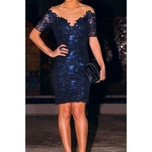 Sexy Plunging Neck Short Sleeve Spliced See-Through Lace Bodycon Dress For Women blue