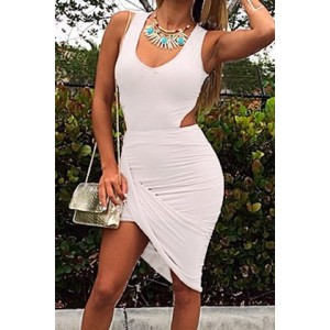 Sexy Plunging Neck Sleeveless Solid Color Asymmetrical Dress For Women black red white