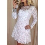 Sexy Round Collar Long Sleeve Spliced Solid Color See-Through Dress For Women white