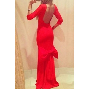 Sexy Round Neck 3/4 Sleeve Backless Bowknot Embellished Dress For Women red