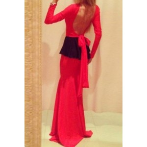 Sexy Round Neck Long Sleeve Backless Flounced Lace-Up Dress For Women red