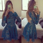 Sexy Round Neck Long Sleeve Backless Lace Dress For Women blue