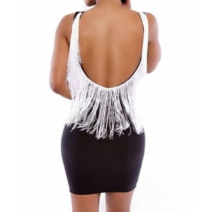 Sexy Round Neck Sleeveless Tassels Embellished Backless Dress For Women black