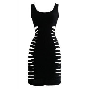 Sexy Scoop Neck Sleeveless Low Cut Hollow Out Dress For Women black